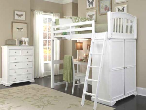 Kids Loft Beds with Desk White 600 x 450