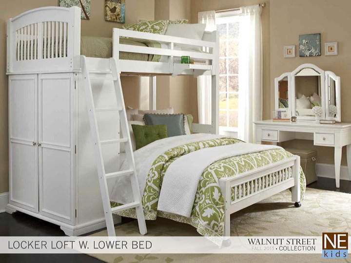 Delightful NE Kids   Locker Loft Lower Bed