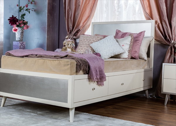 Romina New York Twin Bed in Bianco